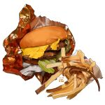 burger cheese commentary english_commentary food food_focus french_fries meat no_humans original simple_background studiolg vegetable white_background