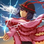 1girl arm_up artist_name bangs black_headwear black_skirt blue_sky bow closed_mouth clouds cloudy_sky eyebrows_visible_through_hair from_behind gradient gradient_sky hair_between_eyes hand_up hat hat_bow long_sleeves looking_at_viewer nagae_iku pink_shirt pink_sleeves pointing purple_hair red_bow red_eyes shidouas shirt short_hair skirt sky smile solo touhou yellow_sky