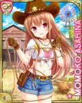 1girl asahina_momoko belt brown_gloves brown_hair brown_headwear building character_name clenched_hands cowboy_hat crop_top denim denim_shorts girlfriend_(kari) gloves hat lasso long_hair midriff navel official_art open_mouth outdoors pink_shirt pouch qp:flapper red_eyes rope sheriff_badge shirt short_shorts shorts solo white_shirt windmill