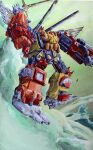 1980s_(style) clenched_hand decepticon holding holding_sword holding_weapon looking_at_viewer marble-v mecha painting_(medium) predaking retro_artstyle shoulder_cannon solo sword traditional_media transformers visor weapon