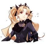 1girl alternate_hairstyle bangs black_dress black_ribbon blonde_hair blush commentary_request crown dress earrings ereshkigal_(fate) eyebrows_visible_through_hair fate/grand_order fate_(series) hair_ornament hair_ribbon hua_ben_wuming jewelry long_hair long_sleeves looking_at_viewer open_clothes parted_bangs red_eyes ribbon simple_background skull smile solo tongue twintails upper_teeth white_background