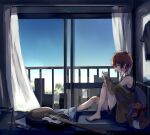 1girl absurdres acoustic_guitar bare_legs bed black_shorts blanket blue_sky building cellphone curtains grab_pigeon guitar guitar_stand highres idolmaster idolmaster_million_live! indoors instrument jacket_partially_removed julia_(idolmaster) kangaroo looking_at_phone messy_hair on_bed phone pillow railing redhead shirt short_hair shorts sitting sky sleeveless sleeveless_shirt solo stuffed_toy