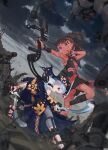 2girls battle dark_skin fantasy mecha multiple_girls original poi_po_poi science_fiction tan traditional_clothes weapon yuri
