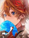 1boy bangs black_gloves blue_eyes collared_shirt covered_mouth earrings from_below genshin_impact gloves highres holding jewelry looking_down male_focus mask mask_on_head orange_hair portrait seventime_7 shirt short_hair solo sweatdrop tartaglia_(genshin_impact) whale white_background