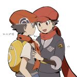 2boys :d adjusting_neckwear backpack bag closed_mouth commentary_request dated grey_jacket grey_pants hat highres jacket lucas_(pokemon) male_focus multiple_boys open_mouth pants petoke pokemon pokemon_(game) pokemon_dppt pokemon_legends:_arceus rei_(pokemon) scarf short_hair short_sleeves simple_background smile undershirt white_background yellow_bag zipper_pull_tab