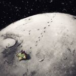 bird black_eyes commentary_request crater dolgapa footprints from_above highres moon natu no_humans outdoors pokemon pokemon_(creature) solo star_(sky) walking