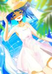 1girl absurdres bare_arms bare_shoulders beach blue_sky blurry blurry_foreground collarbone dress dutch_angle hand_on_headwear hat hatsune_miku highres leaf light_blue_eyes light_blue_hair light_particles long_hair looking_at_viewer ocean open_mouth shimeji_(user_fkzg7225) sketch sky smile solo straw_hat sun_hat sundress twintails very_long_hair vocaloid white_dress