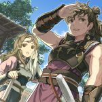 1boy 1girl architecture armor bangs black_armor blue_sky bracer breastplate brown_eyes brown_hair clouds commentary_request cross_scar dated_commentary day drying ears east_asian_architecture fire_emblem fire_emblem_fates from_below gold_trim hair_tubes hana_(fire_emblem) hand_on_forehead hand_up harusame_(rueken) headband hinata_(fire_emblem) holding holding_towel japanese_clothes katana light_brown_hair long_hair long_sleeves looking_afar looking_ahead low_ponytail open_mouth outdoors parted_bangs pink_headband ponytail rope_belt scar scar_on_arm scar_on_face shading_eyes sheath sheathed shiny shiny_hair side_slit sidelocks sky sleeveless standing sweat sword tied_hair towel tree upper_teeth weapon white_armor white_headband wiping_sweat