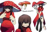 1girl bags_under_eyes bangs black_footwear boots brown_eyes brown_hair commentary creature_and_personification dress hair_over_eyes high_heel_boots high_heels highres holding holding_staff long_hair multiple_views mushroom mushroom_hat original personification red_dress rhanfrhd_3712 short_sleeves simple_background smile staff thigh-highs thigh_boots white_background