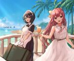 2girls alternate_costume apron artist_name beach black_dress black_hair commission cup day dress drink drinking_glass enmaided eyebrows_visible_through_hair gloves grey_eyes haguro_(kancolle) hair_between_eyes hair_ribbon holding holding_cup kamikaze_(kancolle) kantai_collection long_hair maid maid_apron maid_headdress multiple_girls ocean open_mouth palm_leaf palm_tree puffy_short_sleeves puffy_sleeves purple_hair ribbon short_hair short_sleeves skeb_commission sleeveless sleeveless_dress smile tree violet_eyes white_apron white_dress white_gloves wss_(nicoseiga19993411) yellow_ribbon