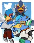3boys beak berdly_(deltarune) bird_boy blue_eyes crossed_arms crossover deltarune falco_lombardi green_eyes index_finger_raised jacket looking_at_viewer multiple_boys multiple_crossover raichiyo revali rito scouter smile smug star_fox the_legend_of_zelda the_legend_of_zelda:_breath_of_the_wild trait_connection twitter_logo