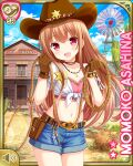 1girl asahina_momoko belt brown_gloves brown_hair brown_headwear building character_name clenched_hands cowboy_hat crop_top denim denim_shorts girlfriend_(kari) gloves hat lasso long_hair midriff navel official_art open_mouth outdoors pink_shirt pouch qp:flapper red_eyes rope sheriff_badge shirt short_shorts shorts smile solo white_shirt windmill