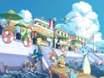 :d alolan_form alolan_persian alolan_raichu binacle building chair charmander closed_mouth clouds commentary_request cramorant day fire flame highres inteleon kura_(shironagasu02) lapras lifebuoy lilligant mew mienshao mythical_pokemon open_mouth outdoors pikachu pokemon pokemon_(creature) psyduck quagsire sitting sky slowpoke smile stairs standing table tongue totodile typhlosion umbrella water wingull wooper
