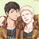 2boys arm_around_shoulder bertolt_hoover blonde_hair brown_hair chest_harness collarbone harness jacket leather leather_jacket looking_to_the_side male_focus maru_mary multiple_boys reiner_braun shingeki_no_kyojin short_hair sideburns smile upper_body