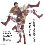 1girl 2boys annie_leonhardt bertolt_hoover blonde_hair blush boots brown_hair carrying_person full_body grin harness knee_boots leather leather_boots multiple_boys nene_(10575936) pants reiner_braun shingeki_no_kyojin short_hair smile thick_eyebrows translation_request white_background white_pants