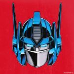 1980s_(style) artist_name autobot blue_eyes english_commentary head_only highres looking_at_viewer mecha no_humans ochopante optimus_prime red_background retro_artstyle science_fiction solo transformers
