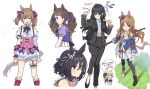 6+girls ahoge animal_ears armband arms_at_sides arrow_(symbol) asymmetrical_footwear bangs beamed_eighth_notes belt belt_buckle bitter_glasse_(umamusume) black_hair black_jacket black_legwear black_pants blue_eyes blush brown_eyes brown_hair buckle center_frills chibi chibi_inset clenched_hands collared_shirt cropped_legs cropped_torso dress earrings eighth_note eishin_flash_(umamusume) eyebrows_visible_through_hair frills from_side garter_straps grass_wonder_(umamusume) hair_ornament hair_ribbon hair_scrunchie highres holding horse_ears horse_girl horse_tail jacket jewelry kashimoto_riko leg_garter little_cocon_(umamusume) long_hair long_sleeves looking_at_viewer mismatched_footwear multiple_girls musical_note neck_ribbon open_clothes open_jacket open_mouth pants parted_lips pink_skirt puffy_sleeves ribbon sailor_collar school_uniform scrunchie shirt shirt_tucked_in short_hair simple_background skirt smart_falcon_(umamusume) speech_bubble standing suit_jacket suspender_skirt suspenders sweat tail teshima_nari thought_bubble tosen_jordan_(umamusume) tracen_school_uniform translation_request two_side_up umamusume upper_body white_background white_dress yellow_eyes