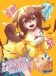 1girl :3 animal_collar animal_ears bangs birthday blue_bow blush bob-the-bison bone_hair_ornament bow braid brown_eyes brown_hair buttons candle chocolate_cornet collar dated dog_ears dog_girl dog_tail dress fangs food gift hair_between_eyes hair_ornament hairclip happy_birthday highres hololive hololive_gamers inugami_korone jacket long_hair loose_socks low_twin_braids open_mouth red_bow red_collar red_legwear short_dress smile solo tail twin_braids virtual_youtuber white_dress yellow_background yellow_jacket