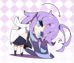 1girl ? antenna_hair argyle argyle_background arrow_(symbol) bangs black_legwear black_neckwear black_skirt blue_eyes blue_hair blush breasts chestnut_mouth chibi collared_shirt colored_shadow commentary_request dress_shirt eyebrows_visible_through_hair eyes_visible_through_hair full_body fuyou-chan gradient_hair highres leaning_to_the_side long_sleeves looking_at_viewer medium_breasts milkpanda multicolored_hair navel no_shoes original outline parted_lips purple_hair shadow shirt short_eyebrows skirt sleeves_past_fingers sleeves_past_wrists socks solo standing thick_eyebrows white_outline white_shirt
