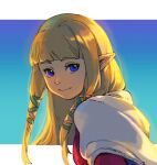 1girl bangs blonde_hair blue_background blue_eyes blunt_bangs capelet closed_mouth commentary dated_commentary gradient gradient_background green_ribbon hair_ribbon highres long_hair looking_at_viewer pink_ribbon pointy_ears princess_zelda ribbon shuangsen sidelocks signature smile solo the_legend_of_zelda the_legend_of_zelda:_skyward_sword upper_body white_capelet