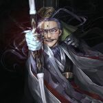 1boy ahoge arrow_(projectile) bow_(weapon) chen_gong_(fate) chinese_clothes chinese_hat dark-skinned_male dark_skin facial_mark fate/grand_order fate_(series) forehead_mark glasses glowing glowing_weapon grey-framed_eyewear hat highres long_hair male_focus noka_(noka8103) purple_hair smile solo upper_body violet_eyes weapon wind