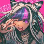 1girl bangs black_hair black_nails black_sailor_collar collarbone danganronpa_(series) danganronpa_2:_goodbye_despair esu_(tasoesu) eyebrows_visible_through_hair hair_horns hand_up highres long_hair looking_at_viewer mioda_ibuki multicolored_hair one_eye_closed open_mouth piercing pink_background pink_eyes pink_hair sailor_collar school_uniform smile solo tongue tongue_out upper_teeth w white_hair