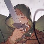 1boy blurry blurry_foreground brown_hair cang_fade capelet green_capelet harness holding holding_sword holding_weapon hood hood_up jacket jean_kirchstein leather leather_jacket light_brown_hair looking_at_viewer male_focus one_eye_covered portrait shingeki_no_kyojin solo sword three-dimensional_maneuver_gear upper_body veins weapon wire