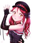 1girl bangs black_gloves blush breasts ckst commentary_request earrings elbow_gloves eyebrows_visible_through_hair fingerless_gloves gloves hair_ribbon hat highres jewelry long_hair love_live! love_live!_sunshine!! redhead ribbon sakurauchi_riko sidelocks signature small_breasts solo twintails upper_body yellow_eyes
