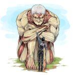 2boys armored_titan bertolt_hoover blonde_hair brown_hair full_body giant giant_male grass hugging_own_legs male_focus multiple_boys nene_(10575936) reiner_braun shingeki_no_kyojin short_hair spoilers standing waving
