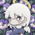 1girl angel_wings bangs blue_dress blush bright_pupils dated dress flower halo highres leaf medium_hair no_nose original pansy short_sleeves signature smile solo upper_body violet_eyes white_hair white_pupils white_wings wings zukky000
