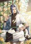 2boys absurdres animal_ears black_hair cat_boy cat_ears closed_eyes flower food food_on_face highres holding holding_food leaf long_hair long_sleeves luoxiaohei multiple_boys petals plant qingqingdechang rabbit short_hair sitting sleeping the_legend_of_luo_xiaohei white_hair wide_sleeves wuxian_(the_legend_of_luoxiaohei) yellow_flower