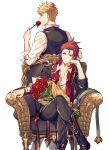 2boys armchair back black_jacket black_vest blonde_hair bouquet chair closed_mouth crossed_legs flower formal granblue_fantasy green_eyes hand_on_own_cheek hand_on_own_face head_rest holding holding_flower jacket male_focus medium_hair multicolored multicolored_clothes multicolored_jacket multiple_boys necktie on_chair ono_(0_no) percival_(granblue_fantasy) red_eyes red_flower red_jacket red_rose redhead rose shirt short_hair sitting suit two-tone_jacket undercut undone_necktie vane_(granblue_fantasy) vest watch watch white_background white_shirt wristband