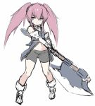 1girl axe bare_shoulders bike_shorts black_shorts blue_eyes closed_mouth coat elbow_gloves full_body gloves hair_between_eyes holding holding_axe karukan_(monjya) long_hair looking_at_viewer navel pink_hair presea_combatir short_shorts shorts sidelocks simple_background sketch sleeveless sleeveless_coat solo standing tales_of_(series) tales_of_symphonia twintails white_background
