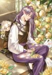 2boys absurdres animal_ears black_footwear cat_boy cat_ears closed_eyes dappled_sunlight fengxi_(the_legend_of_luoxiaohei) flower green_eyes highres leaf long_hair long_sleeves luoxiaohei multiple_boys plant pointy_ears purple_hair qingqingdechang short_hair sleeping sunlight the_legend_of_luo_xiaohei white_hair yellow_flower
