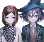 1boy 1girl absurdres artist_name bangs black_hair black_headwear black_jacket brown_eyes brown_vest buttons checkered checkered_neckwear checkered_scarf closed_mouth collared_shirt commentary cosplay costume_switch danganronpa_(series) danganronpa_v3:_killing_harmony dress_shirt english_commentary flipped_hair grey_background grey_jacket hair_between_eyes hat highres jacket looking_at_viewer nika_kapustka open_clothes open_jacket ouma_kokichi ouma_kokichi_(cosplay) redhead scarf shirt short_hair simple_background upper_body vest watermark white_shirt witch_hat yumeno_himiko yumeno_himiko_(cosplay)