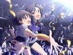 2girls :d antenna_hair armband audience bare_back bare_shoulders birthday black_eyes black_gloves black_hair black_neckwear black_shorts black_vest chain commentary crowd dated dual_persona foreshortening frilled_vest gloves holding_hands idolmaster idolmaster_(classic) idolmaster_million_live! idolmaster_million_live!_theater_days kikuchi_makoto light_blush light_stick long_sleeves looking_ahead looking_at_viewer midriff_peek mizu_(47ssn) multiple_girls open_mouth popped_collar purple_vest raised_eyebrows reaching_out shirt short_hair shorts single_glove smile sparkle spotlight stadium stage streamers sweat sweatdrop upper_body vest white_shirt white_vest
