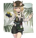 1girl :d animal arknights beanstalk_(arknights) black_choker bottle braid brown_eyes brown_hair brown_headwear choker cowboy_shot crab ears_through_headwear green_hair green_shorts hair_between_eyes hat holding holding_animal id_card jiojio leaf leaf_background long_hair looking_at_viewer metal_crab_(arknights) multicolored_hair open_mouth overall_shorts overalls shirt shorts side_braid single_braid smile spray_bottle streaked_hair v white_shirt