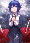 1girl bangs black_dress black_keys_(type-moon) blood blood_on_weapon blue_eyes blue_hair ciel_(tsukihime) closed_mouth clouds cloudy_sky cross cross_necklace crying crying_with_eyes_open dress eyebrows_visible_through_hair field fingernails flower flower_field habit hair_between_eyes hands_together herigaru_(fvgyvr000) highres holding holding_cross jewelry latin_cross light_particles long_dress long_sleeves looking_away looking_up necklace nun planted planted_sword red_flower seiza short_hair sitting sky solo spider_lily sword tearing_up tears tsukihime tsukihime_(remake) weapon white_flower