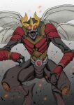 absurdres another_kuuga_(zi-o) another_rider_(zi-o) bug giant giant_monster gold_horns highres horns hunched_over insect_wings kaijuu kamen_rider kamen_rider_zi-o_(series) monster multiple_wings oosaki_takahito open_mouth red_armor red_eyes rider_belt sharp_teeth teeth wings