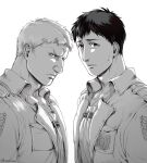 2boys backlighting bertolt_hoover brown_hair bulge chest_harness collarbone collared_jacket from_side frown greyscale harness jacket leather leather_jacket looking_at_viewer male_focus monochrome multiple_boys navel nene_(10575936) nose pectorals realistic reiner_braun shingeki_no_kyojin short_hair sweatdrop white_background
