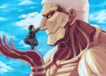 2boys armored_titan bertolt_hoover blonde_hair brown_hair child clouds cloudy_sky from_side giant giant_male male_focus multiple_boys nene_(10575936) shingeki_no_kyojin short_hair sky spoilers younger