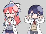 >_< 1boy 1girl :o bangs black_legwear black_pants blue_footwear blue_skirt blush_stickers bow buttons cardigan chibi closed_eyes closed_mouth commentary dancing double_w grey_background grey_cardigan hair_between_eyes hair_bow hair_ornament hair_ribbon hairclip hands_on_own_face hands_together highres labcoat long_hair looking_at_viewer magnet nanawo_akari neck_ribbon necktie official_art outstretched_arms pants pink_footwear ponytail ponytaillong_hair red_eyes red_neckwear redhead ribbon school_uniform shoes short_necktie sidelocks simple_background skirt sleeves_past_fingers sleeves_past_wrists slit_pupils socks sou_(niconico) terada_tera triangle turing_love uwabaki v-shaped_eyebrows w white_footwear white_ribbon yellow_sweater_vest