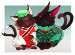 2girls animal_ear_fluff animal_ears animalization border cat_ears cat_tail chamaruku chen chen_(cat) closed_eyes commentary_request dress earrings fangs frilled_dress frilled_shirt_collar frills green_dress green_headwear grey_background hat japanese_clothes jewelry kaenbyou_rin kaenbyou_rin_(cat) licking licking_face long_sleeves mob_cap multiple_girls multiple_tails nekomata open_mouth short_sleeves simple_background single_earring tail tongue tongue_out touhou two_tails whiskers