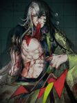1boy abs ashiya_douman_(fate) asymmetrical_clothes asymmetrical_hair bell black_eyes black_hair blood blood_on_clothes blood_on_face blood_on_hands blood_stain bruise curly_hair earrings eyeshadow fang fate/grand_order fate_(series) fingernails green_eyeshadow green_kimono green_lips green_nails hadanugi_dousa hair_bell hair_between_eyes hair_intakes hair_ornament highres injury japanese_clothes jewelry kimono lipstick long_hair looking_at_viewer magatama magatama_earrings makeup male_focus multicolored_hair navel nipples noka_(noka8103) open_clothes open_kimono pectorals revision ribbed_sleeves sharp_fingernails sitting solo toned toned_male translation_request two-tone_hair very_long_fingernails very_long_hair white_hair