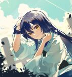 1girl absurdres archery bangs blue_hair clouds hair_between_eyes hakama hand_in_hair highres japanese_clothes kyuudou long_hair long_sleeves looking_at_viewer love_live! love_live!_school_idol_project muneate outdoors sky smile solo sonoda_umi swept_bangs wind yellow_eyes