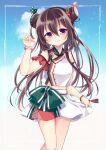1girl alternate_hairstyle bangs blush brown_hair clouds commission cosplay double_bun frills hair_between_eyes hair_ribbon kantai_collection kisaragi_(kancolle) long_hair looking_at_viewer nagasioo polka_dot polka_dot_ribbon ribbon simple_background skeb_commission smile solo swimsuit tan_yang_(kancolle) tan_yang_(kancolle)_(cosplay) tassel violet_eyes yukikaze_(kancolle)