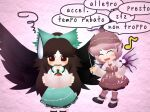 bird_wings blush bow frown hair_bow hat kouki_(nowlearning) musical_note mystia_lorelei paper reading reiuji_utsuho sweat sweatdrop talking touhou wings worried