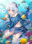 1girl air_bubble apple_caramel artist_name barefoot blue_eyes blue_hair blue_nails blue_skirt blue_tang_fish blush bubble butterflyfish clownfish coral coral_reef fish_tail gawr_gura hair_ornament heart highres hololive hololive_english hood hood_down hoodie looking_at_viewer multicolored_hair navel shark_tail sharp_teeth silver_hair skirt smile spoken_heart streaked_hair tail teeth tropical_fish underwater virtual_youtuber wide_sleeves