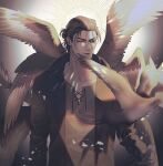 1boy angel_wings bangs bird brown_hair brown_theme chengzhineixihuanxiaogou closed_eyes eren_yeager feathered_wings feet_out_of_frame highres male_focus multiple_wings older open_clothes open_shirt shingeki_no_kyojin solo tied_hair wings