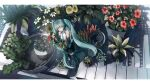 1girl absurdres aqua_eyes aqua_hair bangs bare_shoulders black_footwear black_legwear black_skirt blue_flower blue_neckwear boots bouquet closed_mouth collared_shirt commentary detached_sleeves flower from_above hand_up hatsune_miku highres holding holding_bouquet instrument long_hair looking_at_viewer looking_up minigirl necktie piano piano_keys pink_flower plant pleated_skirt potted_plant red_flower shirt skirt sleeveless solo standing sunflower thigh-highs thigh_boots twintails very_long_hair vocaloid water white_shirt wide_shot x_x_fry yellow_flower